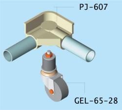 PJ-607用差し込み式キャスター取付図